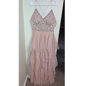 Aidan Mattox blush prom dress